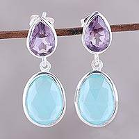 Amethyst and chalcedony dangle earrings, 'Dip Into Water' - Amethyst and Chalcedony Dangle Earrings from India