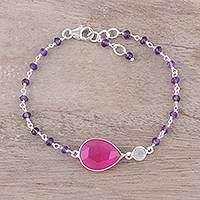 Jade pendant bracelet, 'Colorful Elegance' - Jade and Amethyst Pendant Bracelet from India
