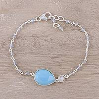 Chalcedony pendant bracelet, 'Colorful Elegance' - Chalcedony and Labradorite Pendant Bracelet from India