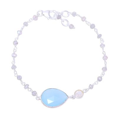 Chalcedony and labradorite pendant bracelet, 'Colorful Elegance' - Chalcedony and Labradorite Pendant Bracelet from India