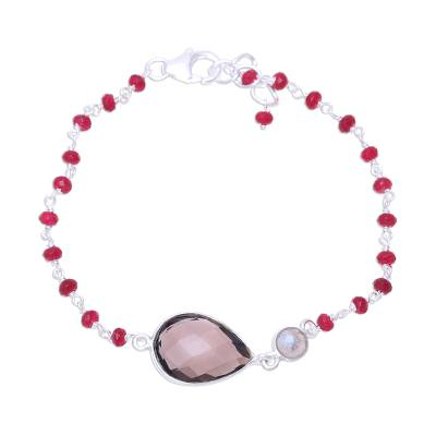 Multi-gemstone pendant bracelet, 'Colorful Elegance' - Multi-Gemstone Pendant Bracelet from India