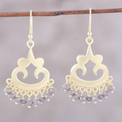Gold plated chalcedony chandelier earrings, 'Glittering Bliss' - 22k Gold Plated Chalcedony Chandelier Earrings from India