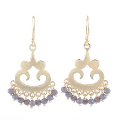 22k Gold Plated Chalcedony Chandelier Earrings from India