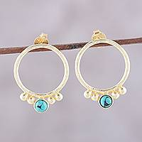 Gold plated sterling silver drop earrings, 'Golden Hoops' - Gold Plated Sterling Silver and Calcite Drop Earrings