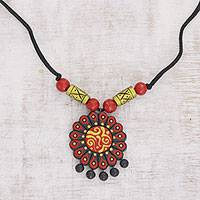 Ceramic pendant necklace, 'Brilliant Daisy' - Hand-Painted Floral Ceramic Pendant Necklace from India