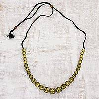 Ceramic beaded necklace, 'Golden Orbs' - Gold-Tone Ceramic Beaded Necklace from India