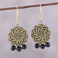 Ceramic dangle earrings, 'Gleaming Chakra' - Gold-Tone Ceramic Dangle Earrings from India