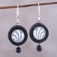 Ceramic dangle earrings, 'Dancing Discs' - Hand-Painted Ceramic Dangle Earrings from India
