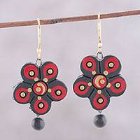 Ceramic dangle earrings, 'Brilliant Daisies' - Hand-Painted Floral Ceramic Dangle Earrings from India