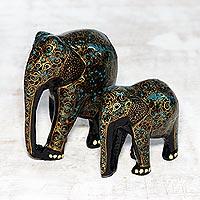 Papier mache and wood sculptures, 'Maternal Glow in Black' (pair) - Gold-Tone Floral Papier Mache Elephant Sculptures (Pair)