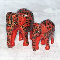 Papier mache and wood sculptures, 'Red Connection' (pair) - Floral Papier Mache Elephant Sculptures in Red (Pair)