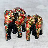 Papier mache and wood sculptures, 'Floral Bond' (pair) - Hand-Painted Floral Papier Mache Elephant Sculptures (Pair)