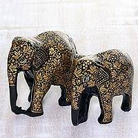 Papier mache and wood sculptures, 'Charm of Chinar' (pair) - Leaf Motif Papier Mache and Wood Elephant Sculptures (Pair)