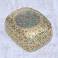 Papier mache and wood decorative box, 'Kashmir Charm' - Gold-Tone Papier Mache and Wood Decorative Box from India