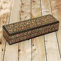 Papier mache and wood decorative box, 'Chinar Paradise' (small) - Leaf Motif Papier Mache and Wood Decorative Box (Small)