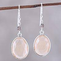 Onyx and smoky quartz dangle earrings, 'Mystic Pools' - 11-Carat Onyx and Smoky Quartz Dangle Earrings from India