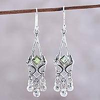 Peridot chandelier earrings, 'Grace and Elegance' - Sterling Silver and Green Peridot Chandelier Earrings