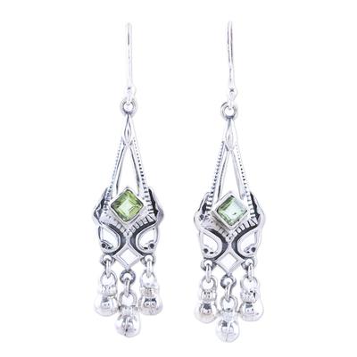 Sterling Silver and Green Peridot Chandelier Earrings