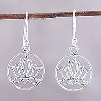 Sterling silver dangle earrings, 'Delightful Lotus' - Sterling Silver Lotus Dangle Earrings from India