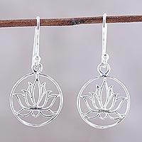 Sterling silver dangle earrings, 'Delightful Lotus' - Sterling Silver Lotus Dangle Earrings from India