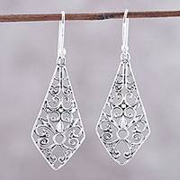 Sterling silver dangle earrings, 'Delightful Kites' - Kite-Shaped Sterling Silver Dangle Earrings from India