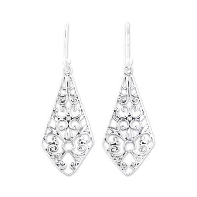 Sterling silver dangle earrings, 'Delightful Kites' - Kite-Shaped Sterling Silver Dangle Earrings from India