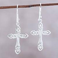 Sterling silver dangle earrings, 'Delightful Crosses' - Sterling Silver Cross Dangle Earrings from India