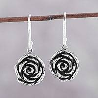 Sterling silver dangle earrings, 'Adorable Roses' - Sterling Silver Rose Dangle Earrings from India