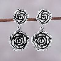 Sterling silver dangle earrings, 'Adorable Beauty' - Rose-Shaped Sterling Silver Dangle Earrings from India