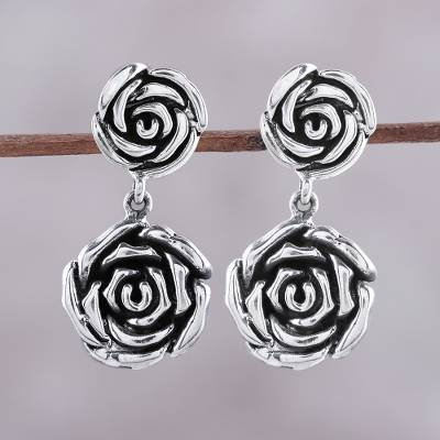 Sterling Silver Dangle Earrings Adorable Beauty Rose Shaped
