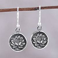 Sterling silver dangle earrings, 'Lotus Bliss' - Lotus Motif Sterling Silver Dangle Earrings from India