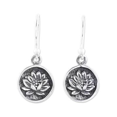 Sterling silver dangle earrings, 'Lotus Bliss' - Lotus Motif Sterling Silver Dangle Earrings from India