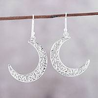 Sterling silver dangle earrings, 'Bright Crescents' - Crescent-Shaped Sterling Silver Dangle Earrings from India