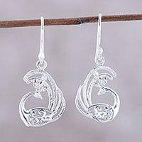 Sterling silver dangle earrings, 'Peacock Delight' - Sterling Silver Peacock Dangle Earrings from India