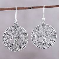Sterling silver dangle earrings, 'Arbor Majesty' - Tree Motif Sterling silver Dangle Earrings from India