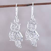 Sterling silver dangle earrings, 'Owl Charm' - Sterling Silver Owl Dangle Earrings from India