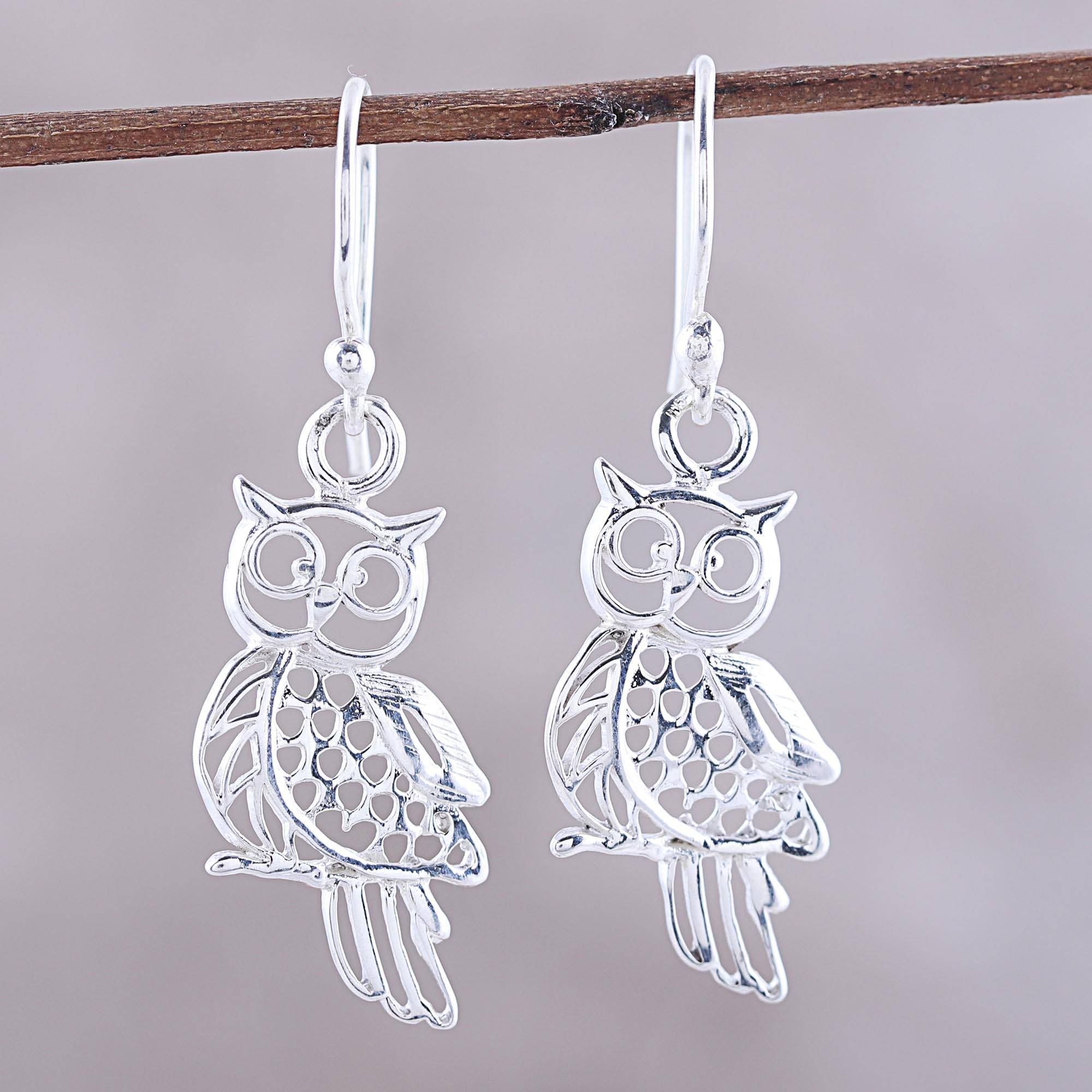Sterling Silver Owl Dangle Earrings From India Charm