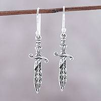 Sterling silver dangle earrings, 'Protective Swords' - Sterling Silver Sword Dangle Earrings from India