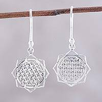 Sterling silver dangle earrings, 'Floral Mesh' - Openwork Floral Sterling Silver Dangle Earrings from India