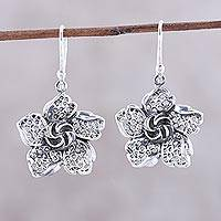 Sterling silver dangle earrings, 'Floral Twist' - Sterling Silver Flower Dangle Earrings from India