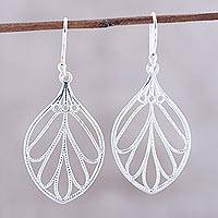 Sterling silver dangle earrings, 'Leafy Spark' - Leaf-Shaped Sterling Silver Dangle Earrings from India
