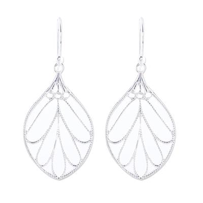 Sterling silver dangle earrings, 'Leafy Spark' - Leaf-Shaped Sterling Silver Dangle Earrings from India