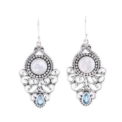 Rainbow Moonstone and Blue Topaz Dangle Earrings from India