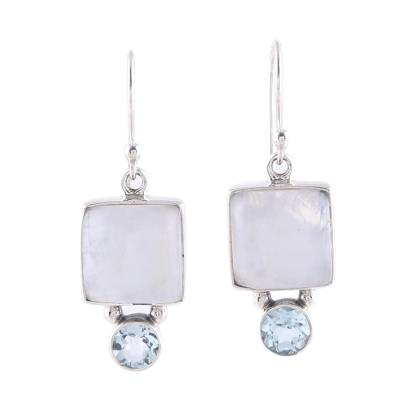 Square Rainbow Moonstone and Blue Topaz Earrings from India