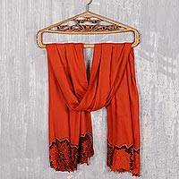 Wool and silk blend shawl, 'Floral Charisma in Tangerine' - Wool and Silk Blend Shawl in Tangerine from India