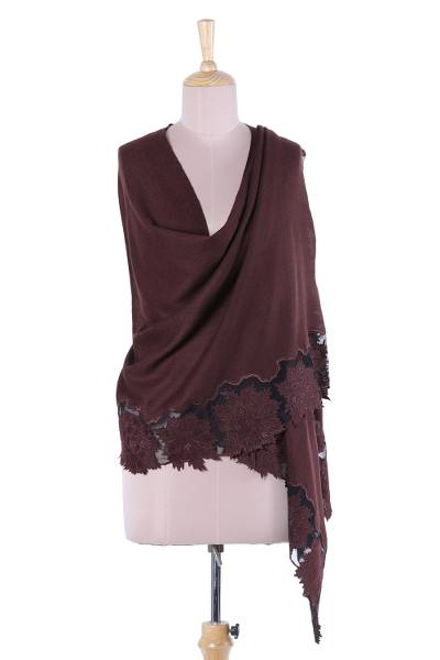 Wool and silk blend shawl, 'Floral Charisma in Mahogany' - Wool and Silk Blend Shawl in Mahogany from India