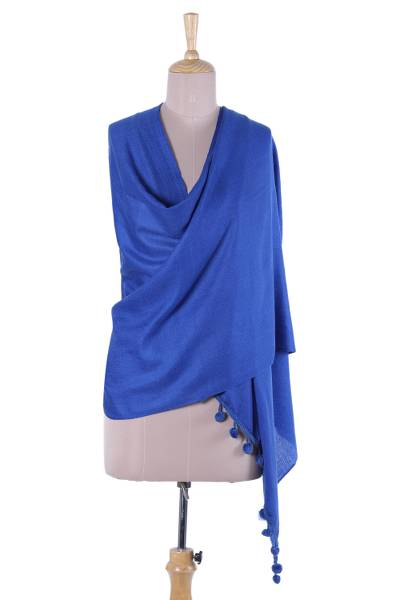 Wool and silk blend shawl, Chasme Bulbul Bliss in Lapis