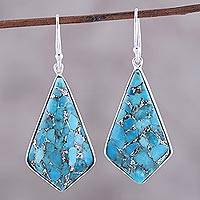 Sterling silver dangle earrings, 'Sky Kites' - Sterling Silver and Composite Turquoise Dangle Earrings