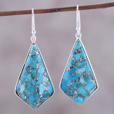 Sterling silver and composite turquoise dangle earrings, 'Sky Kites' - Sterling Silver and Composite Turquoise Dangle Earrings