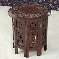 Wood accent table, 'Delightful Flowers' - Brown Floral Mango Wood Accent Table from India
